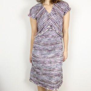 ST. JOHN Anna woven tweed a-line dress in purple